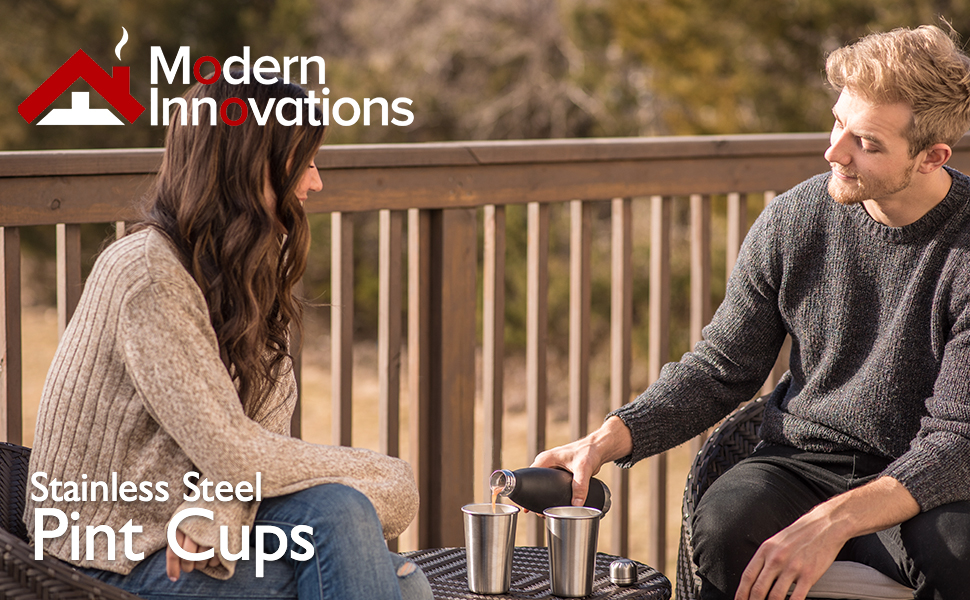 Premium Stainless Steel Cups - 16 Ounce Stainless Steel Pint Cup Tumblers - BPA Free
