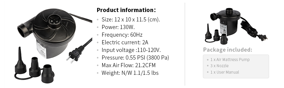 Our air mattress pump is powered by us AC 110V. Max air flow and pressure are 21.2CFM and 3800Pa.