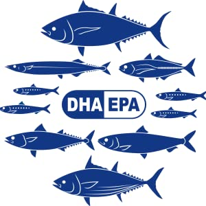 Graphic include a variety of fish and a DHA and EPA logo