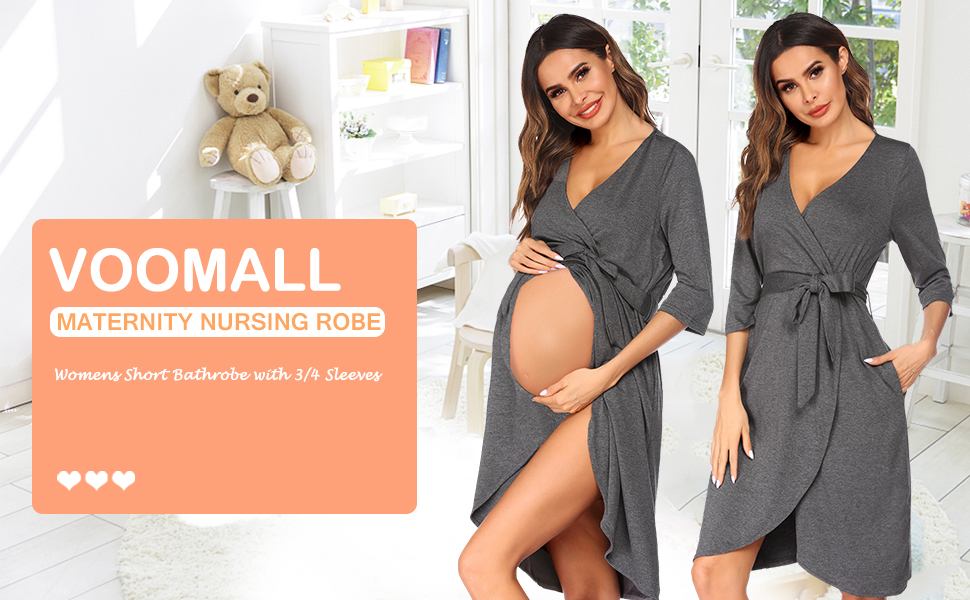 Women's Robe Maternity Sleepwear Pregnancy Nightgown Nursing