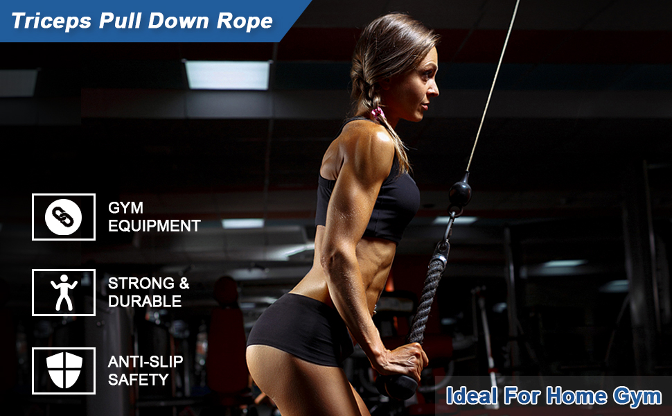 Professional Quality Triceps Pull Down Rope Cable Attachment