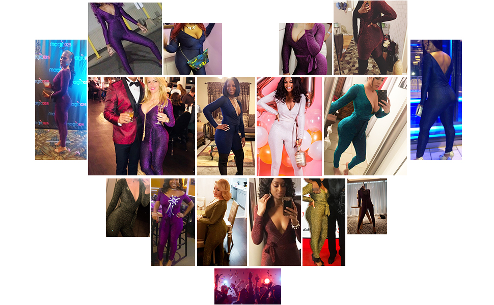 jumpsuitLongwu Women's Sexy Sparkly V Neck Long Sleeve Party Clubwear Bandage Romper Jumpsuit
