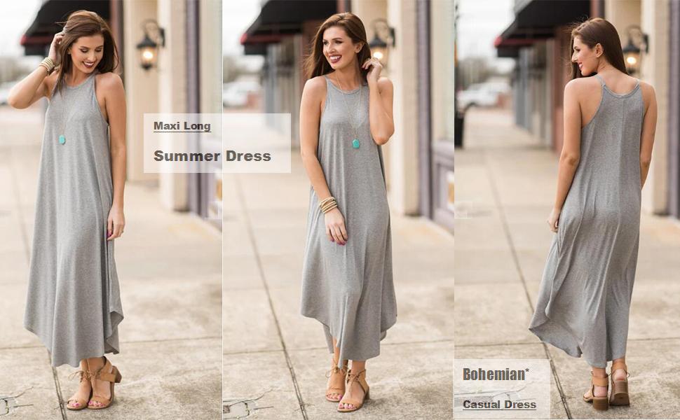 women's summer casual dresses sleeveless long maxi dress spaghetti strap halter dresses
