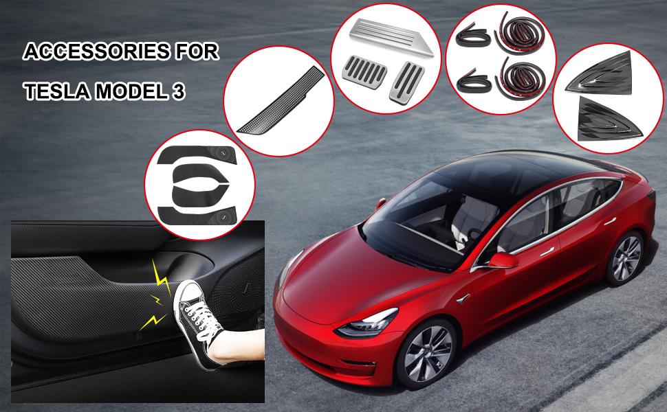 Wisamic Door Anti-Kick Mat for Tesla Model 3 Leather Carbon Fiber Protector 4 PCS//Set