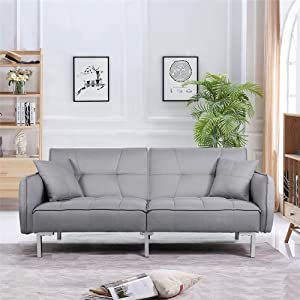 Excellent Yaheetech Luxury Fabric Sofa Bed 3 Seater Click Clack Recliner Couch Lounge Sofabed For Living Room With Cushions Grey Ocoug Best Dining Table And Chair Ideas Images Ocougorg
