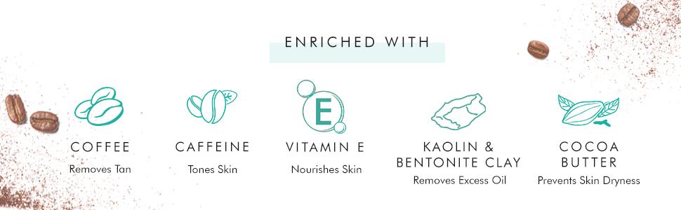 coffee removes tan caffeine tones skin vitamin e nourishes skin kaolin removes excess oil cocobutter