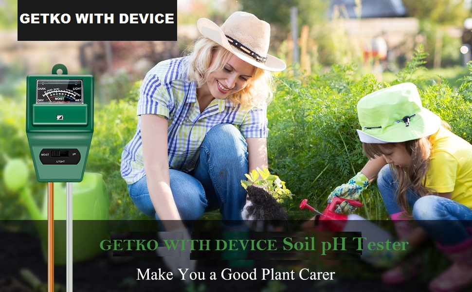 GETKO WITH DEVICE 3 in 1 Garden Soil Plant Moisture Humidity pH and Light Tester Meter