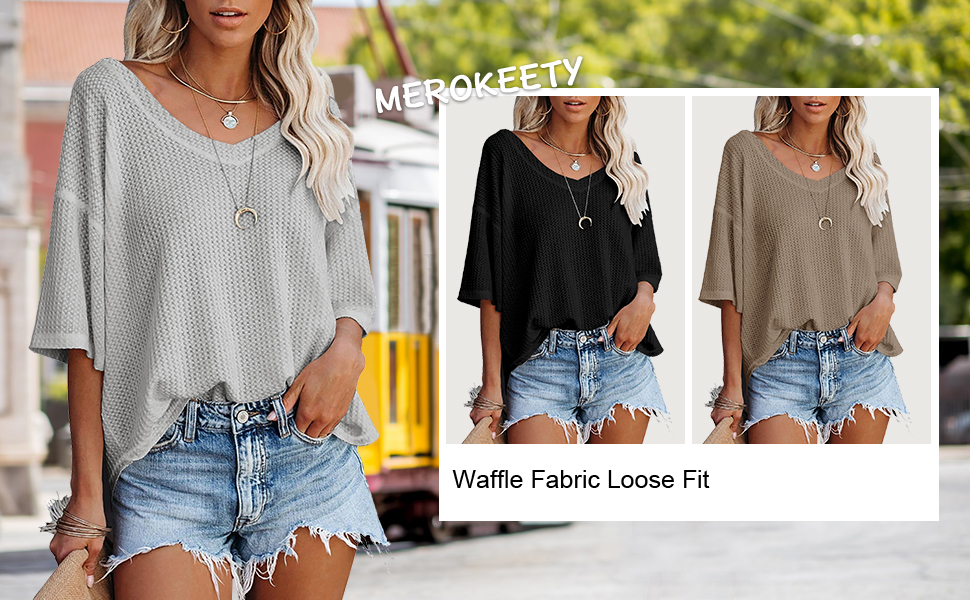 waffle fabric loose fit