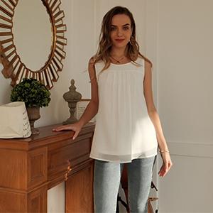 women chiffon blouse tank tops for leggings
