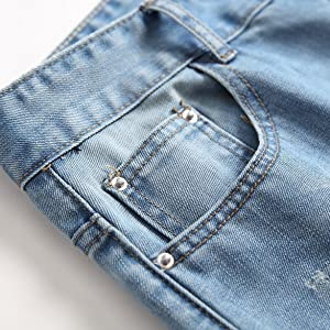 ripped jean slim fit Straight fit Biker Jean blue stretch destroyed denim jean men button fly jean