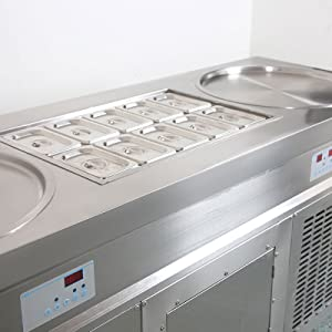double pans fried ice cram machine with 10 tanks