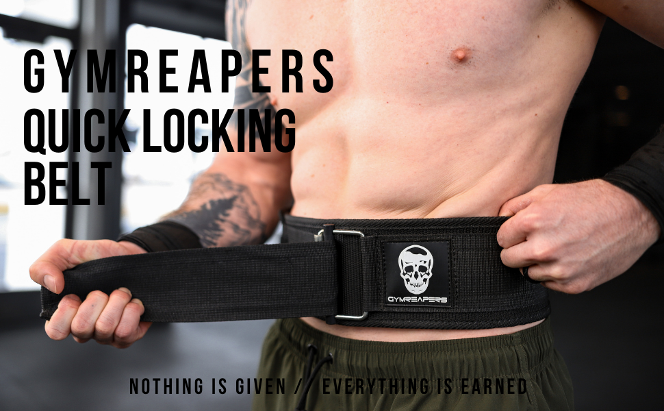 gymreapers quick locking auto self belt strap secure buckle cross fit compound lifting belts support