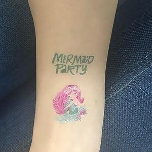 SZSMART Tatuajes Temporales Sirena Niñas Tatuajes Falso Sirena ...