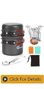 Odoland 6pcs Camping Cookware Mess Kit with Lightweight Pot