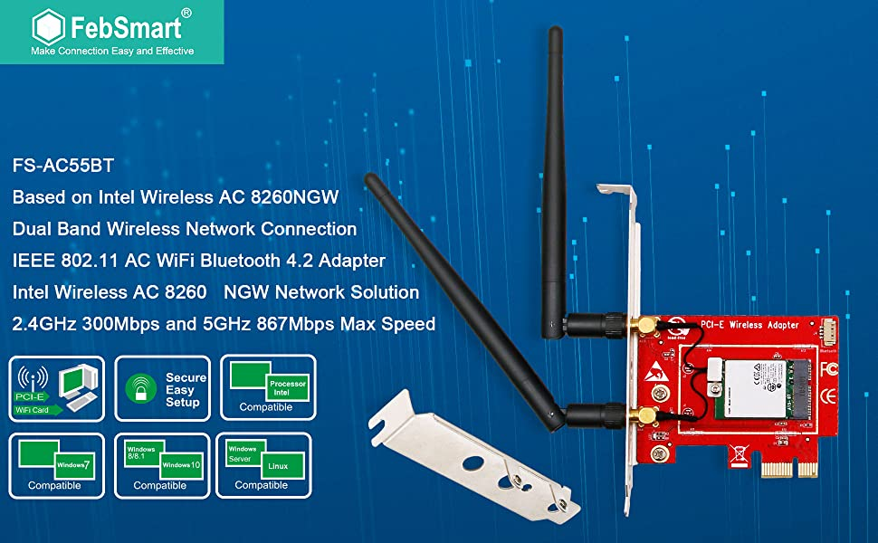 FS-AC55BT FebSmart Wireless AC1200Mbps 2.4GHz 300Mbps or 5G 867Mbps Dual Band PCIE Wi-Fi Adapter with Bluetooth 4.2 for Desktop PCs and Servers-PCIE Wi-Fi Card-PCIE Wireless Network Adapter