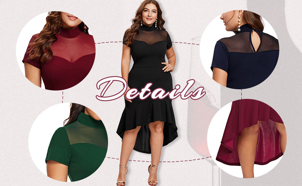 Milumia Women's Plus Size Elegant Mesh Frill Ruffle Round Neck Party Pencil Dress