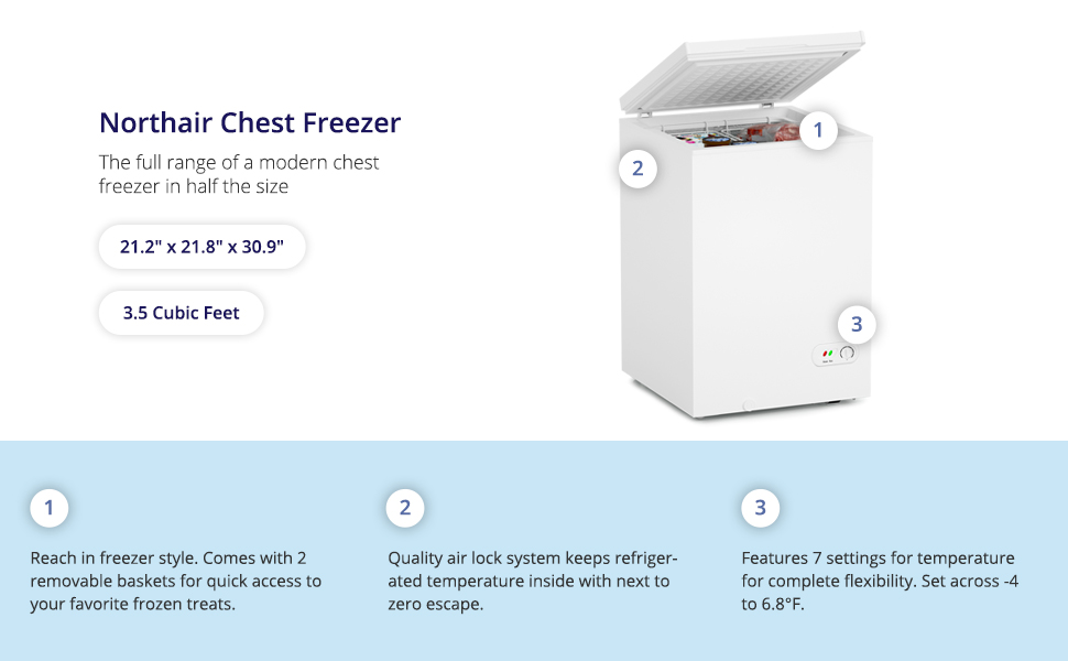 northair white chest compact freezer