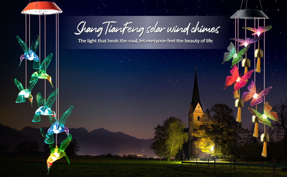ShangTianFeng Hummingbird solar wind chimes