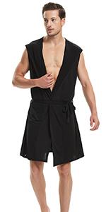 mens sleeveless bathrobe