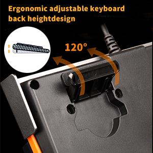 Ergonomic keyboard height of bracket