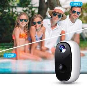 MECO Cam/éra de S/écurit/é Ext/érieure Batterie Rechargeable /Étanche Syst/ème de Surveillance Domestique Cam/éra 1080p Sans Fil Cam/éra IP Wifi D/étection de Mouvement PIR Vision Nocturne Audio Bidirec