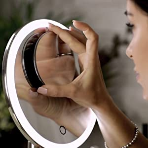 Evolvico Large 9 inch main 5x magnifying/magnification mirror with magnetic 10x 4 inch mirror