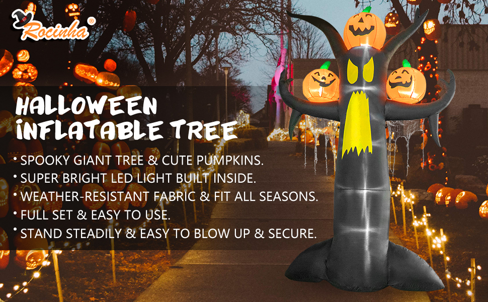 Halloween Inflatables Dead Tree with Pumpkins