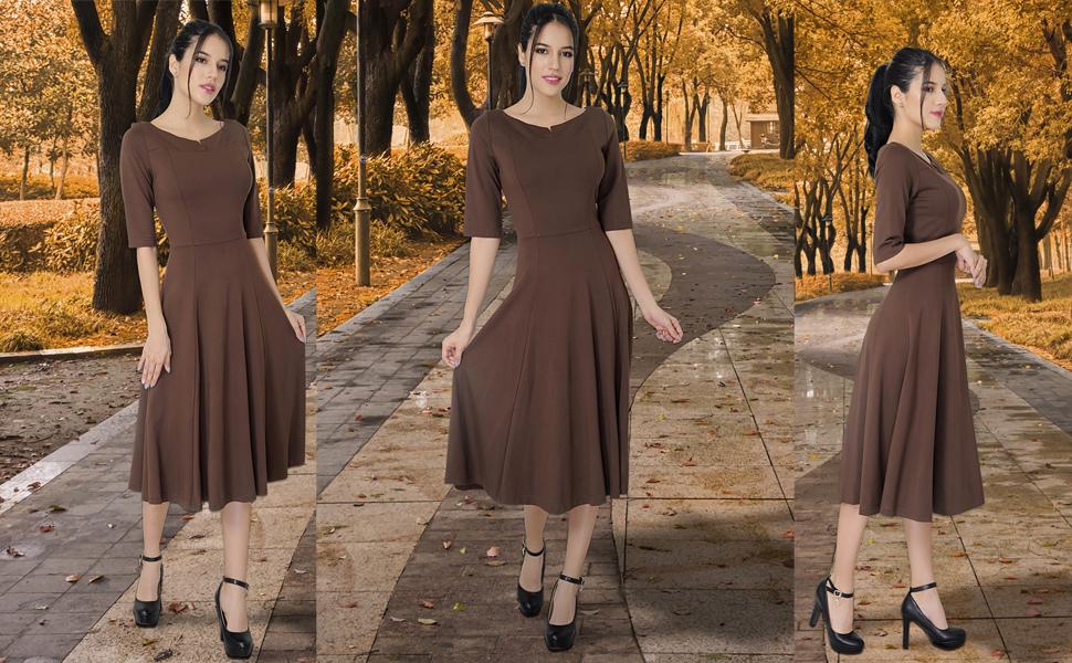 Marycrafts dresses, brown dresses, autumn dress, fall dresses, fit and flare dresses, midi dresses