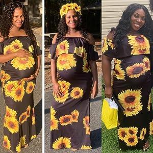 sun flower floral long off shoulder maxi dresses for women-6