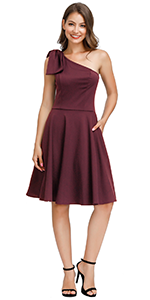 One Shoulder Fit and Flare Dress