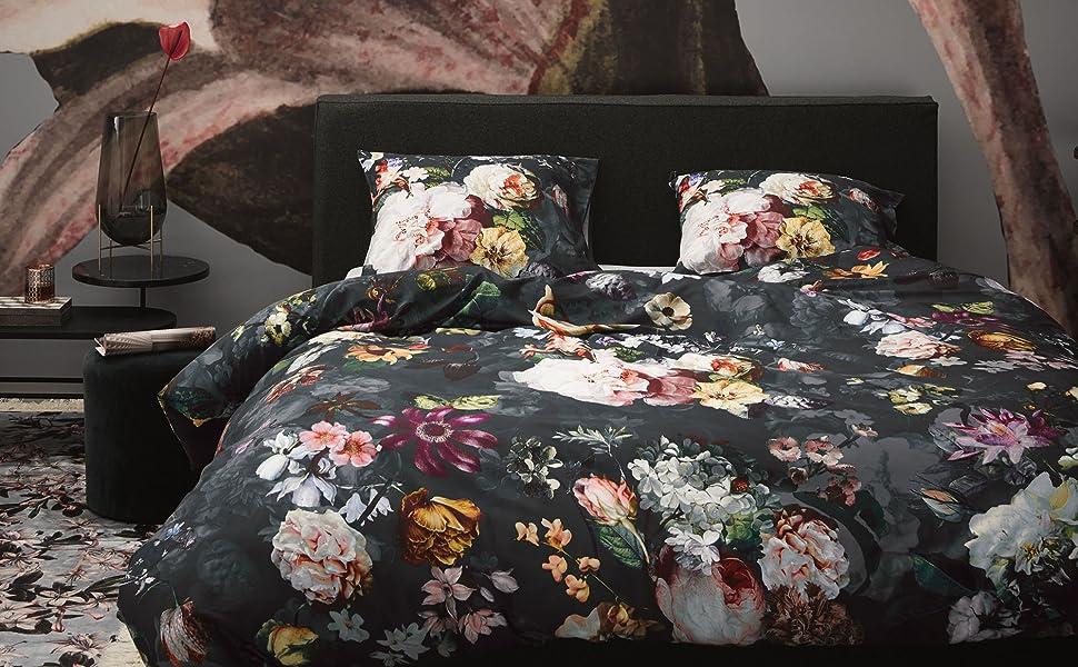 Essenza Bettwasche Fleur Blumen Pfingstrosen Tulpen Baumwollsatin Blau 200x200 2x 80x80 Cm Amazon De Kuche Haushalt