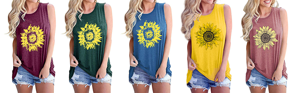 Womens Summer Casual Sleeveless Graphic Letter Print Tank Tops Tee Shirts