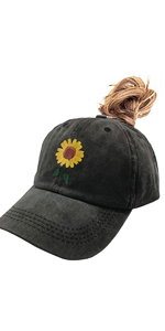 Women's Cute Sunflower Ponytail Baseball Cap