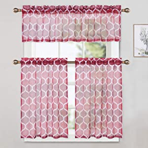 red sheer kitchen curtain