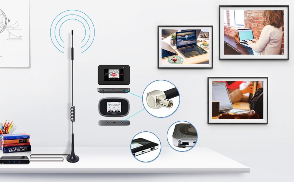 Bingfu TS9 Antena 4G LTE 7 dBi MIMO Antena Amplificadora de Señal de Base Magnética Compatible con Orange,Vodafone Movistar Netgear Huawei Enrutadores ...