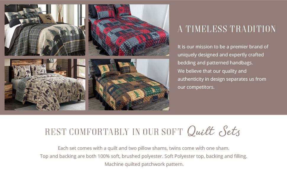 Text reads: Quilted bedding sets include 1 coverlet and 2 shams. Soft poly top, backing, and fill.