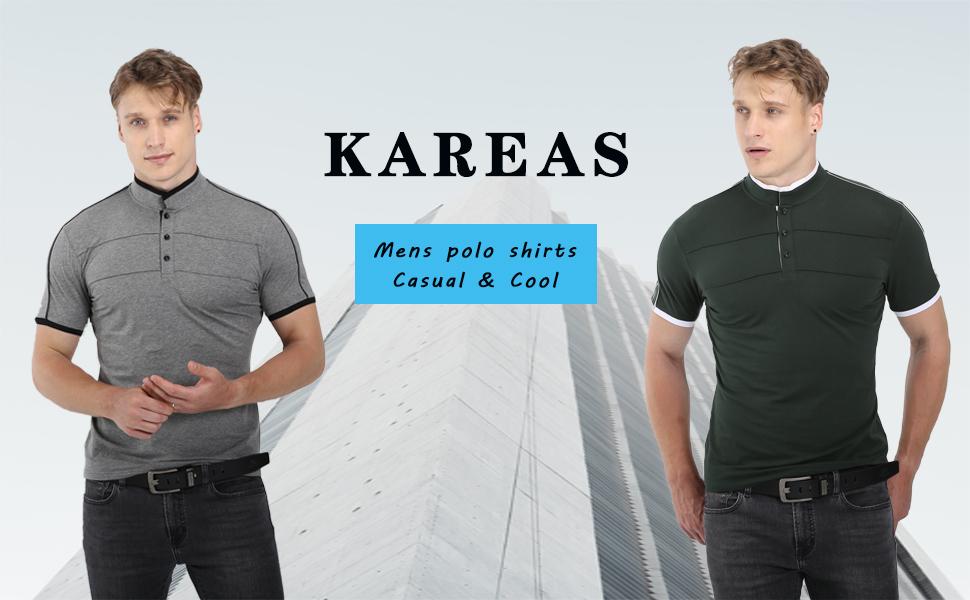 Kareas Mens Fashion Polo Shirt Casual Slim Fit Pique Short Sleeve Cotton T-Shirt