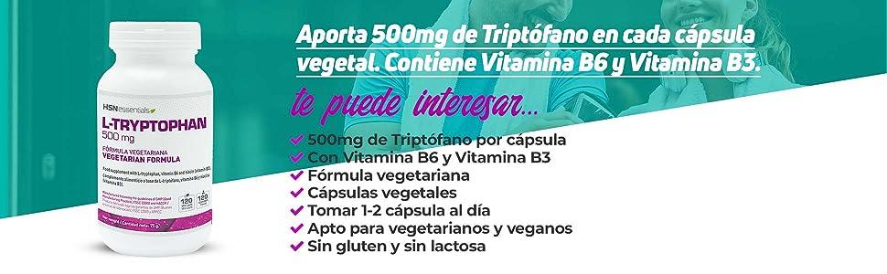 L-Triptófano 500mg de HSN   Con Vitamina B3 y B6   Mejora el ...