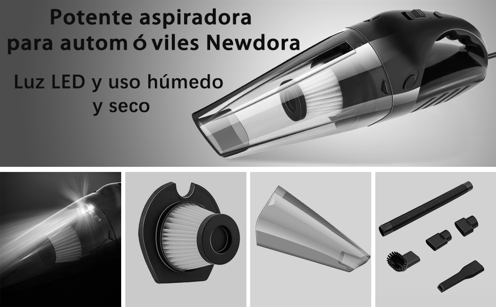 Newdora Aspirador de Coche Potencia de Succión 5000 PA Aspirador en Seco y Húmedo para Limpiar del Interior del Coche Aspiradoras de Mano con Cable de 16,4 Pies y Bolsa Portátil: Amazon.es: