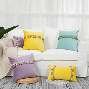 pillow cover decor perfect decorative tassel balls couch sofa individual outdoor throw yellow