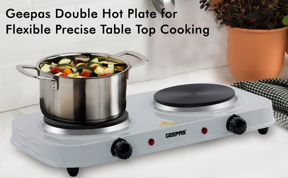 WHITE DOUBLE TWIN 2KW ELECTRIC HOB HOT PLATE TABLE TOP HOTPLATE PORTABLE COOKER