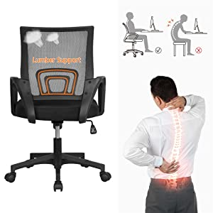 A - Yaheetech Office Chair Mid Back Swivel Lumbar Support Desk Chair, Height Adjustable Computer Ergonomic Mesh Chair With Armrest Black, 2-Pack