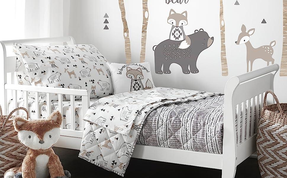 Bailey toddler bedding Levtex crib bedding grey tan natural bear deer fox