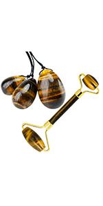 Tiger's Eye Roller Massager Tool amp; Yoni Eggs Set of 3