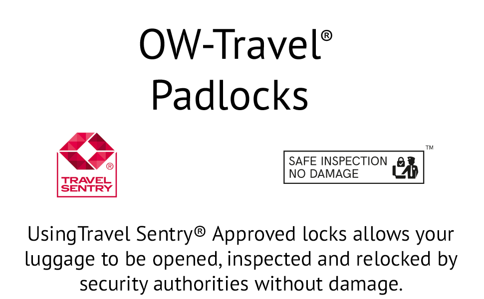 OW Travel Travel Sentry Approved Luggage Locks. Combination Key Padlock:Suitcase Backpack Gym Locker