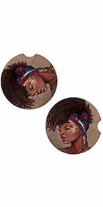 African American Black Girl Car Coasters