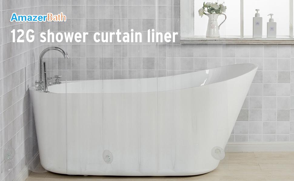 AmazerBath 12G Clear Shower Curtain Liner