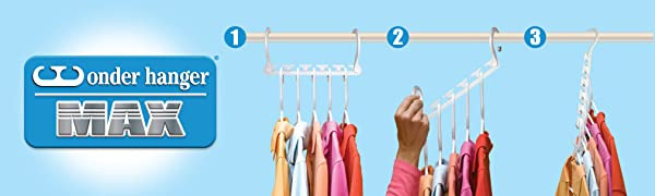 Colorful polo shirts in pink, orange and white hanging. Hand is dropping down hanger for space.