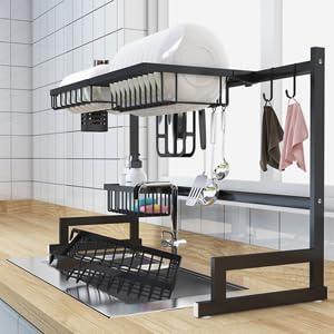 Amazon Com Dish Drying Rack Over Sink Kitchen Supplies Storage Shelf Countertop Space Saver Display Stand Tableware Drainer Organizer Utensils Holder Stainless Steel Black Kitchen Dining