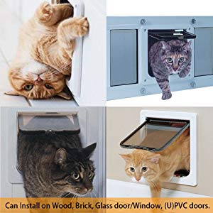 Pulchram Puerta de Mascota, Colgajo de Gato, colgajo de Gato magnético de 4 vías, colgajo de Gato/Perro con túnel- 23 * 25 * 5.5cm Fácil de Instalar
